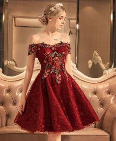 Burgundy lace off shoulder short prom dress, lace evening dress