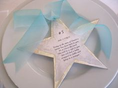 A different way to read the Christmas Story with your family: Break the story into the same number of parts as there are people at your gathering. Put a card with verses at each person's place setting. Before the meal, go around the table and read the verses in order to form the complete story! Love this idea!!
