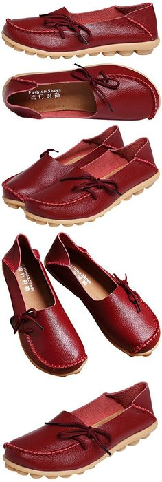 Serene Womens Leather Cowhide Casual Lace Up Flat Driving Shoes Boat Slip-On Loafers (9B(M)US, Burgundy)