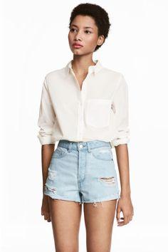 Pantalón corto High Waist - Azul denim claro/Trashed - MUJER | H&M ES 1