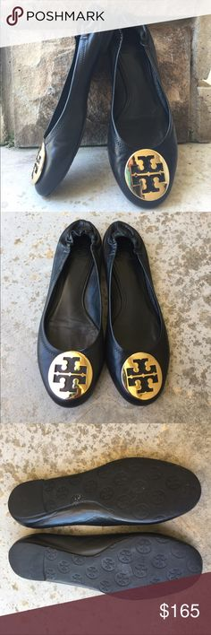 ✨Tory Burch Black Flats✨ Adorable black authentic Tory Burch Flats in size 9US (womens). Used, but great condition as shown! Tory Burch gold logo has minor scratches (both shoes). Very minimal. Super soft and comfortable Flats! Leather lining and body, man made sole. Bundle and save, thanks for looking! ❤️❤️ Tory Burch Shoes Flats & Loafers