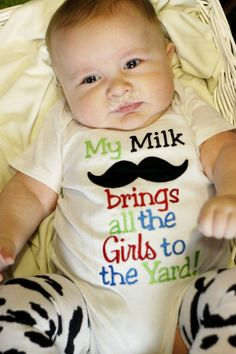 My Milk Mustache Brings All the Girls to the Yard Applique Shirt or Onesuit- Baby Boy Mustache Onesuit- Funny Mustache Onesuit- Mustache Shirt Baby Boys, Our Baby, Funny Babies, Cute Babies, Baby Boy Outfits, Kids Outfits, Wiedergeborene Babys, Everything Baby, Fotografia