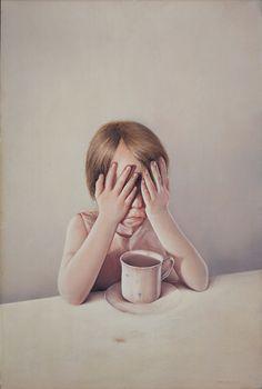 Gottfied Helnwein  Leid macht stark 1974  73 cm x 48 cm  watercolor on cardboard