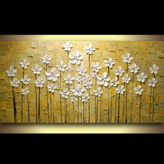 Peint à La main Paysage Jaune Gris Blanc Fleurs Abstrait Palette Couteau Peinture À L'huile Toile Mur Salon Fine Art Artwork