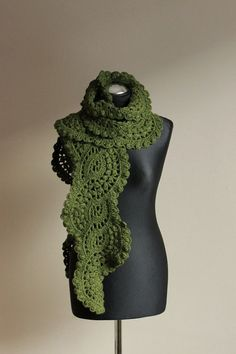 Crocheted lace scarf in forest green by iveta67 on Etsy, $49.00