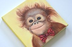 Monkey giclée print on canvas. Monkey wrapped by MimoCadeaux, $67.00