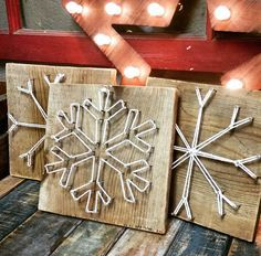 String Art Snowflakes by AmberBrandi on Etsy String Art, Art School, Winter Snow, Wood Signs, Christmas Ornament, Christmas Crafts, Snowflakes, Holiday Ornaments, Wooden Plaques