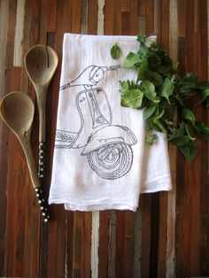 Tea Towel - Screen Printed Organic Cotton Flour Sack Towel - Vespa - Eco Friendly Kitchen Towel - Handmade Dish Towel - Cotton Hand Towel
