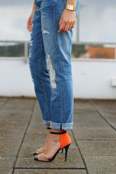 Boyfriend jeans and high heels