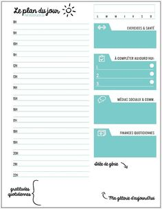 Plan du jour feuille quotidienne d'agenda by roseflash on Etsy