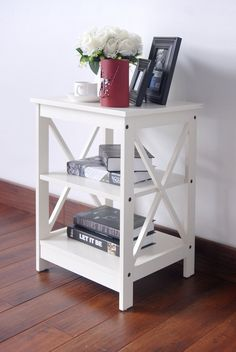 Amazon.com - White Finish Wooden X-Design Chair Side End Table with 3-tier Shelf -