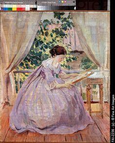 The Embroideress/Borisov-Musatov, Viktor Elpidiforovich 1870-1905/Tempera on canvas/Russian...