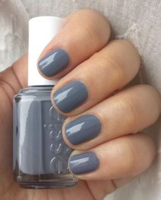 It is my birthday. I struggle on my birthday. I like this polish. (a birthday haiku) Essie Petal Pushers is a stormy grey with a strong hint of blue, and in the right light the barest hint of lavend