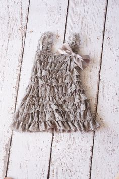 Gray Lace Dress  silver flower girl dress   lace by PoshPeanutKids, $26.95