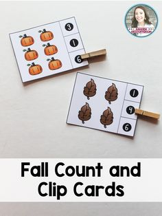 Count and clip cards are a fun way for students to practice counting! Students can count the number of Fall themed objects on each card and then clip the correct total! Includes 20 cards.