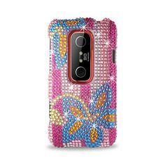 Reiko 3D Hard Case Full Diamond Hard Blue Flower Protection Cover for HTC Evo #Reiko