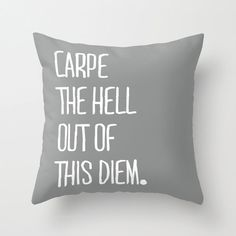 Carpe The Hell Out of This Diem Grey Throw Pillow Cover By Pencil Me In // Funny Pillow Lol on Etsy, $29.00