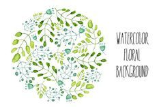 Watercolor floral round background
