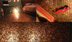Bedroom Floor Made From Heads Up Pennies. Diy Flooring, Penny Flooring, Flooring Ideas, Pennies From Heaven, Home Remodeling Diy, Floor Ceiling, H & M Home, Home Repair, Ceiling Design