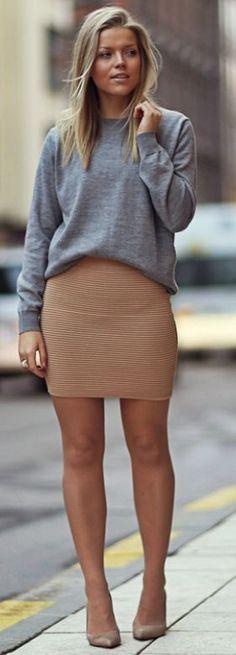 Linda Juhola Gray Sweater On Nude Skirt Fall Street Style Inspo