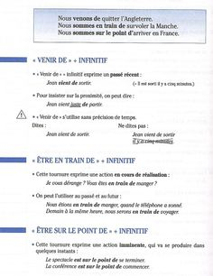 passé récent / présent progressif French Verbs, French Grammar, French Language Lessons, French Lessons, Core French, French Class, French Teacher, Teaching French, French Worksheets