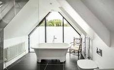 Image result for bathtub under low vaulted ceiling