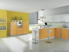 Yellow Kitchen Cabinets Look Really Awesome When It Merge With Black And White Description From