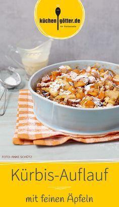 KÜRBIS-APFEL-AUFLAUF -  Unser Rezept-Tipp für das kleine Extra im Alltag: Muskatkürbis, Äpfel, Mandeln und viele Gewürze direkt aus dem Ofen. Und dazu echte Vanillesauce.