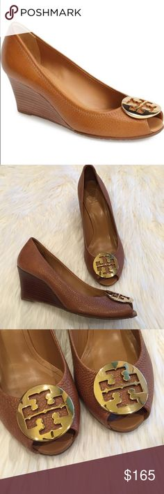 Tory Burch Sally 2 Royal Tan Peep Toe Wedge Pumps