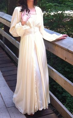 1930s 40s Nightgown Peignoir Old Hollywood Lace by shesadorned