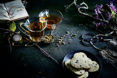 Still life. Tea. Food photography. Dark