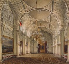Э. П. Гау Александровский зал Акварель, белила. 348x375. 1861 г.