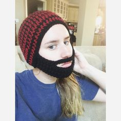Black and Red Beard Hat by pesquallie on Etsy