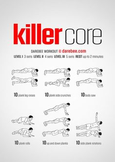 Killer Core Workout A strong core enables you to do anything that requires balan. Killer Core Workout A strong core enables you to do anything that requires balance, distributed load, explosive move Fitness Workouts, Gym Workout Tips, Abs Workout Routines, Ab Workout At Home, Workout Challenge, At Home Workouts, Fitness Tips, Health Fitness, Killer Ab Workouts