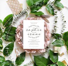 stunning calligraphy laurel inspired wedding invite | Smitten on Paper
