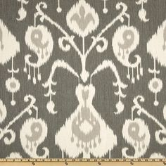 Java Pewter Ikat cotton upholstery fabric curtains pillows print yardage  $8.25 a yard