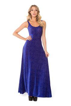 Burned Velvet Blurple Maxi Dress in XS/S