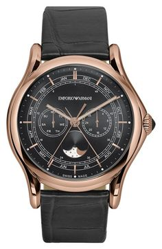 Emporio Armani Swiss Made Moon Phase Leather Strap Watch, 44mm