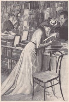 Woman reading in bookstore. Fliegende Blätter / Band CXIV / Bild 188 [Flying Leaves, Volume CXIV, Picture 188]. Illustration by René Reinicke (German, 1860-1926).
