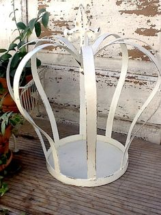 Metal Crown, Shabby Chic White, Iron Crown Garden Decor Royal Distressed  And by CamillaCotton