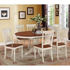 $908 East West Furniture KEPL Kenley Oval Table Dining Set with Wood Seat Chairs