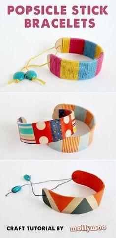 Bend popsicle sticks to make cute popsicle stick bracelets!