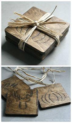 DIY Fall Themed Wood Coasters via designdininganddiapers.com #MyBrilliantIdea #CleverGirls 
