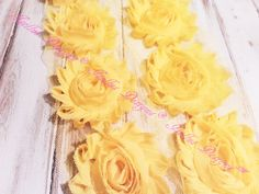 6 Piece 2.5 Yellow Shabby Flowers by IsellusDesigns on Etsy