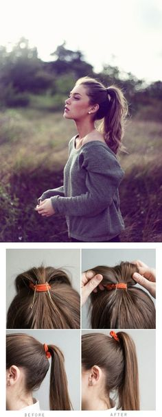 Nifty trick to summer ponytail perfection. Probably need to cross bobby pins in the back to keep them from slipping. Saç http://turkrazzi.com/ppost/239464905162826526/