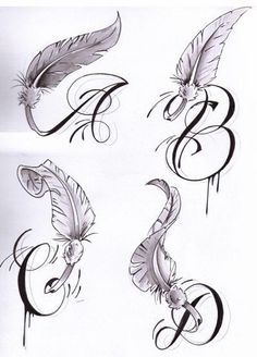 Letters with Wings - Tattoos and Tattoo Designs: Letters Tattoo Tattoos Places For Tattoos, Tattoos For Kids, Tattoos For Daughters, Trendy Tattoos, Small Tattoos, Feather Tattoo Design, Wing Tattoo Designs, Feather Tattoos, Wing Tattoos