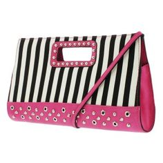 (F3266) Striped Over-Sized Clutch with Hexagon Grommet Detailing