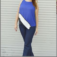 Plus Size Sleeveless Diagonal Tiered Design Top Nice easy breezy sheer top for spring/summer. Made in USA, 100% Polyester. I only have size XL. Colors are royal blue/black and white. Please do NOT order this listing, comment below and I will create a separate listing for you. XL/Size 14 Bust: 42 Waist: 33 Hips: 43 Fits true to size, no stretch. Tops Blouses