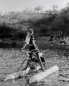 Brigitte Bardot on an aquabike