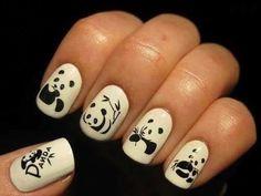yes this is weird. but i love pandas.just in case I'm feeling kinda panda crazy one day Panda Bear Nails, Panda Nail Art, Animal Nail Art, Panda Bears, Panda Panda, Love Nails, How To Do Nails, Pretty Nails, Nail Polish Designs